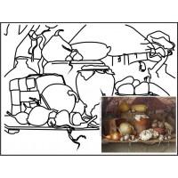 Холст на картоне с контуром, Натюрморт № 13, 30x40, хл., акрил.гр., Этюд