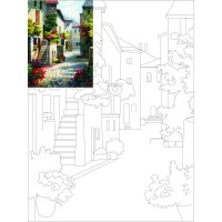 Холст на картоне с контуром, Пейзаж № 1, 30x40, хл., акрил.гр., Этюд