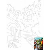 Холст на картоне с контуром, Пейзаж № 15, 30x40, хл., акрил.гр., Этюд