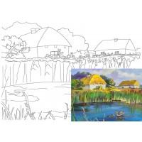 Холст на картоне Rosa с контуром Пейзаж № 18 30 x 40 см