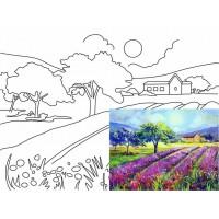 Холст на картоне Rosa с контуром Пейзаж № 19 30 x 40 см