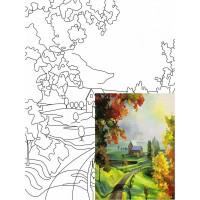 Холст на картоне Rosa с контуром Пейзаж № 21 30 x 40 см