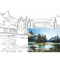 Холст на картоне Rosa с контуром Пейзаж № 22 30 x 40 см