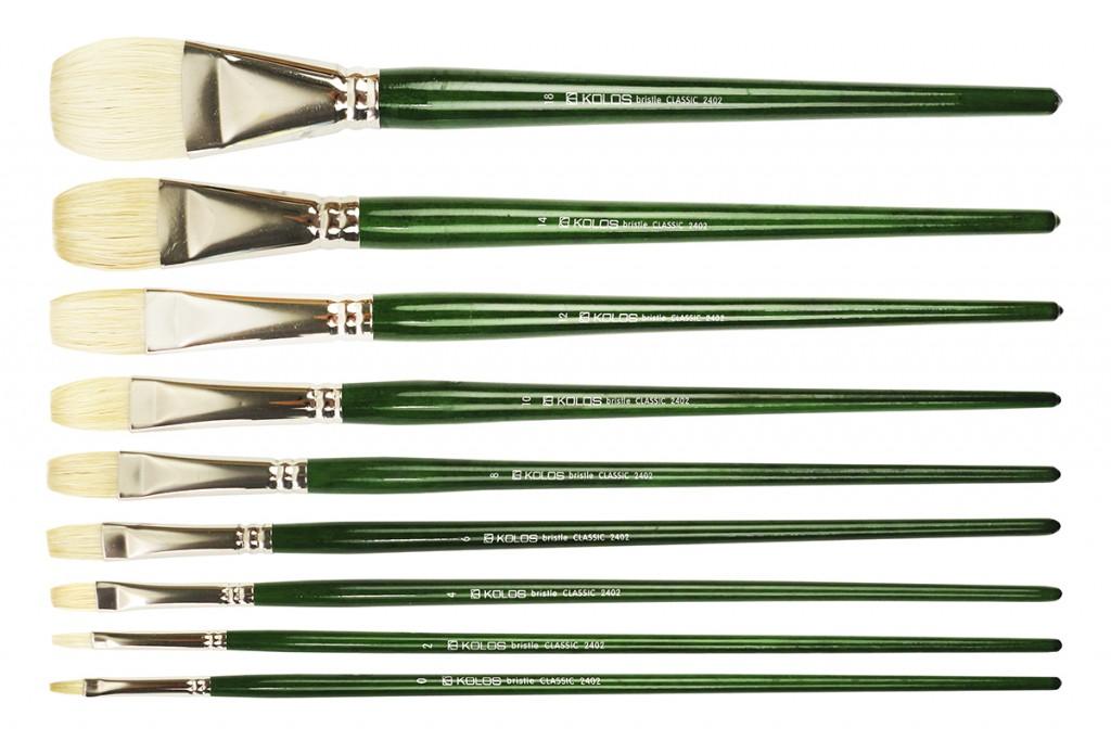Кисть щетина плоская Kolos Classic 2402F длинная ручка