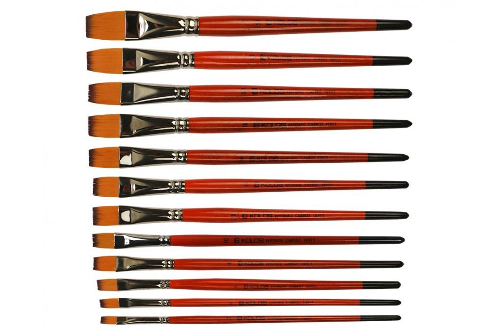 Кисть синтетика плоская Kolos Carrot 1097F короткая ручка