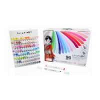 Набор двухсторонних маркеров китсочных Graph it Brushmarker 96 цветов в боксе