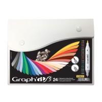 Набор двухсторонних маркеров китсочных Graph it Brushmarker Comics 24 цвета