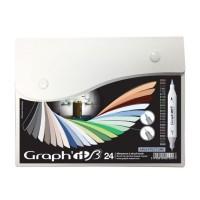 Набор двухсторонних маркеров китсочных Graph it Brushmarker Architecture 24 цвета в боксе