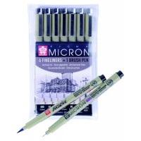 Набор лайнеров Pigma Micron 6шт + Pigma Brush, Sakura