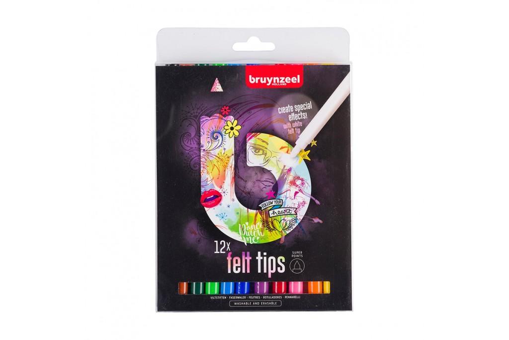 Набор фломастеров Bruynzeel Felt Tips Light 12 цветов