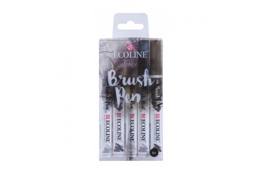 Набор акварельных маркеров Ecoline Brushpen Grey 5 цветов