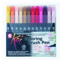Набор маркеров Koi Coloring Brush Pen, 24цв., Sakura