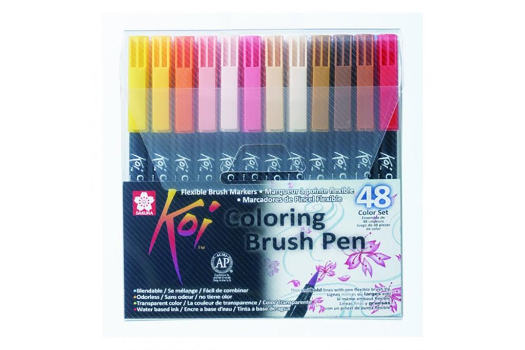 Набор акварельных маркеров Sakura KOI Coloring Brush Pen 48 цветов