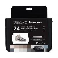 Набор двухсторонних маркеров Winsor Newton Promarker Black and Greys 24 цвета + сумка-пенал