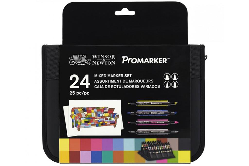 Набор двухсторонних маркеров Winsor Newton Mixed Marker Set 24 цвета + сумка-пенал