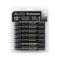 Набор маркеров спиртовых, Серые, 12цв., Brushmarker W&N