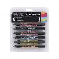 Набор маркеров спиртовых, Средние, 6цв., Brushmarker W&N