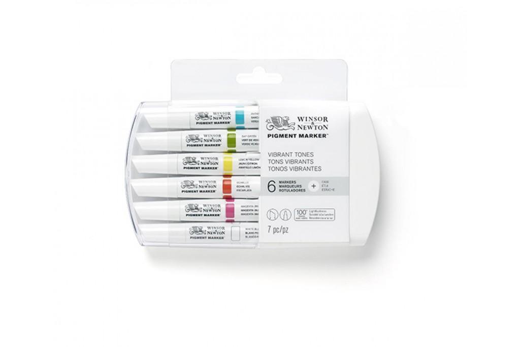 Набор двухсторонних маркеров пигментных Winsor Newton Pigment Яркие 6 цветов