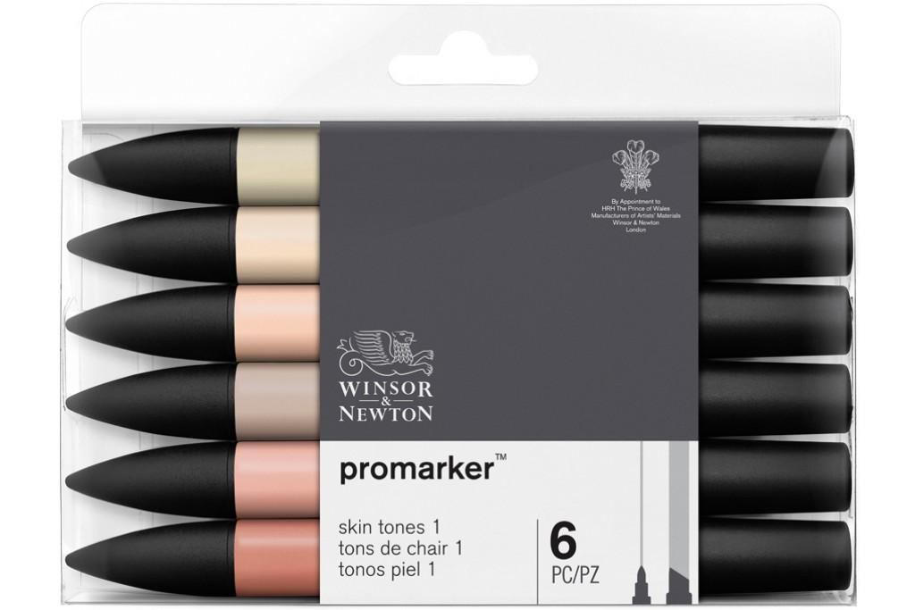 Набор двухсторонних маркеров Winsor Newton Promarker Телесные 6 цветов