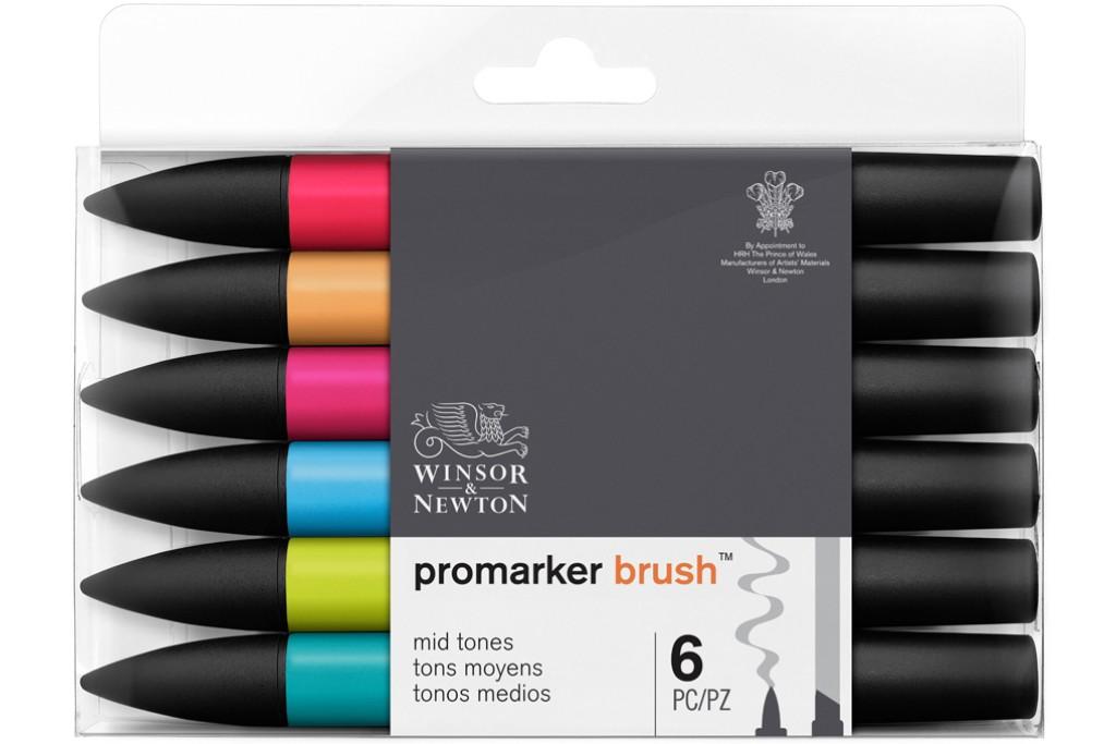 Набор двухсторонних маркеров Winsor Newton Brushmarker Средние 6 цветов