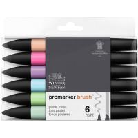 Набор двухсторонних маркеров Winsor Newton Brushmarker Пастельные 6 цветов