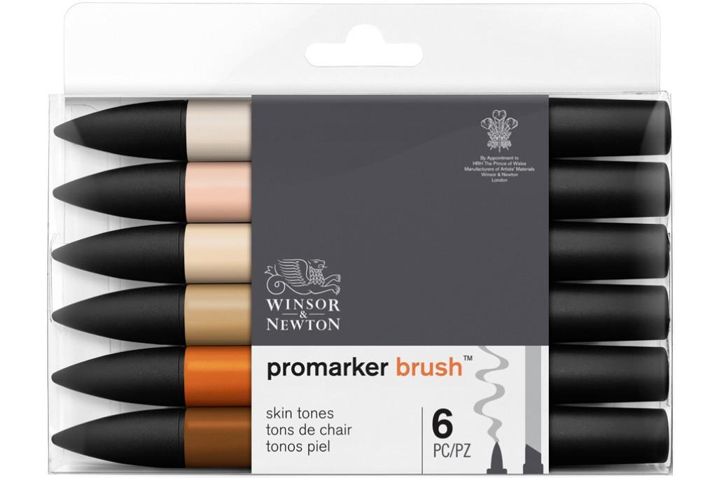 Набор двухсторонних маркеров Winsor Newton Brushmarker Телесные 6 цветов
