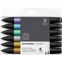 Набор двухсторонних маркеров Winsor Newton Promarker Металлик 6 цветов