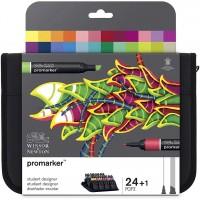 Набор двухсторонних маркеров Winsor Newton Promarker Student Designer 24 цвета + сумка-пенал