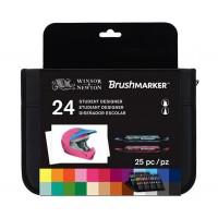 Набор двухсторонних маркеров Winsor Newton Brushmarker Student Designer 24 цвета + сумка-пенал