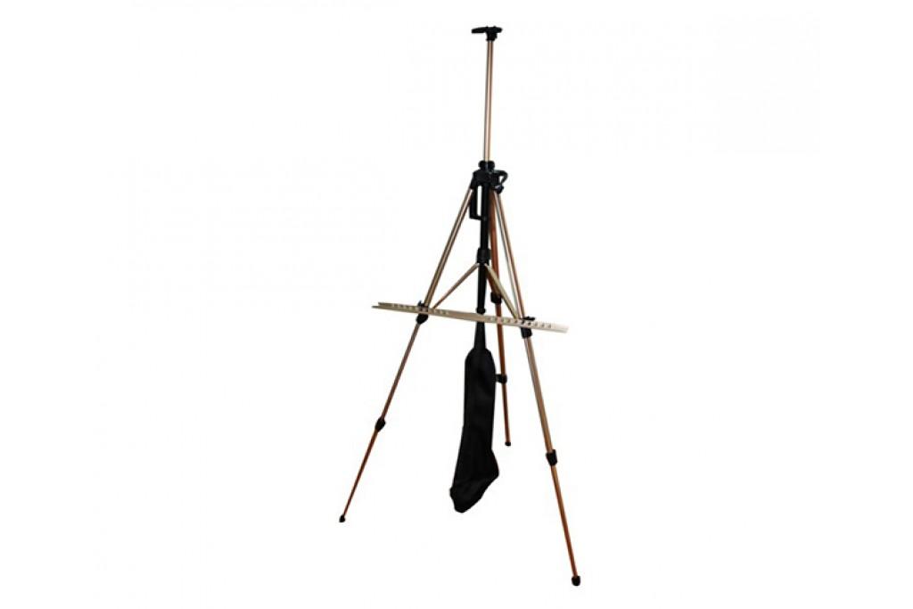 Мольберт-тренога алюминиевая с сумкой, кремовая, 138х85х158 см, высота полотна 83 см