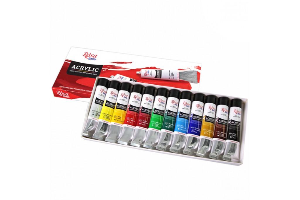 Набор акриловых красок Rosa Studio 12 цветов по 20 мл