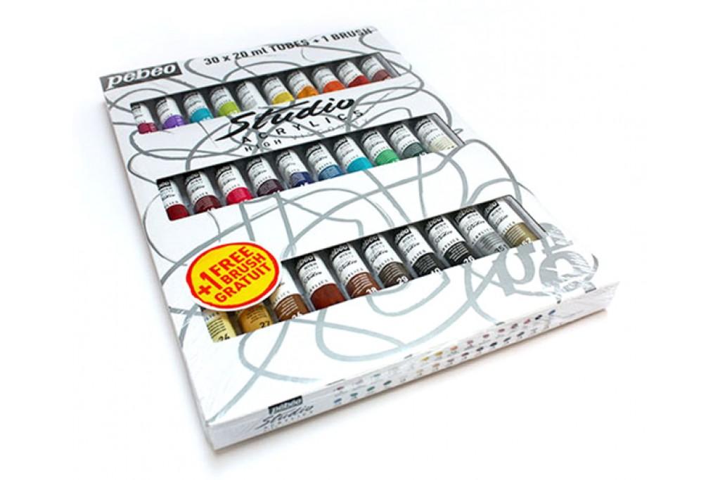 Набор красок акриловых Pebeo Studio 30 цветов по 20 мл + кисть