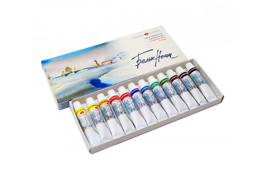 Набор акварельных красок ЗХК Невская палитра Белые Ночи 12 цветов по 10 мл картонная коробка