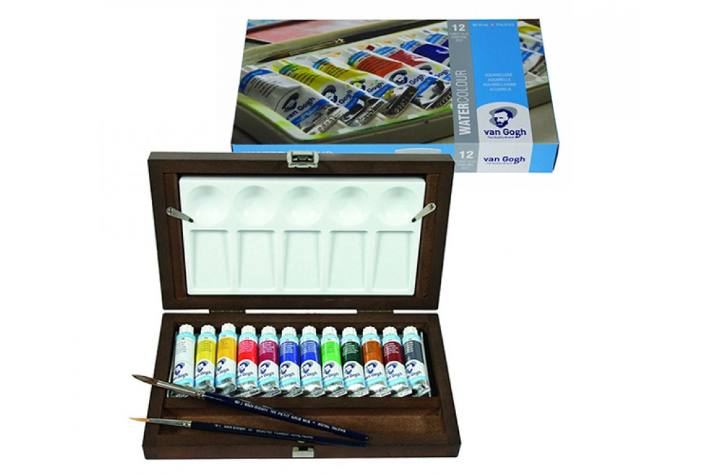 Набор акварельных красок Royal Talens Van Gogh 12 цвета + кисти 2 шт + палитра деревянный пенал