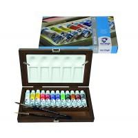 Набор акварельных красок Van Gogh 12цв. + кисти 2 шт дерево