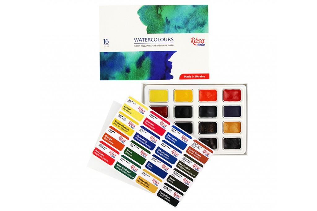 Набор акварельных красок Rosa Studio Watercolours NEW 16 цветов кювета картонная коробка