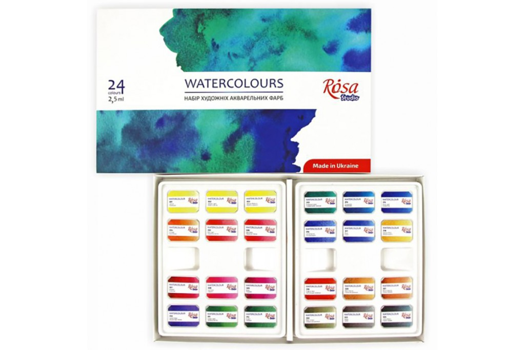 Набор акварельных красок Rosa Studio Watercolours 24 цвета кювета картонная коробка
