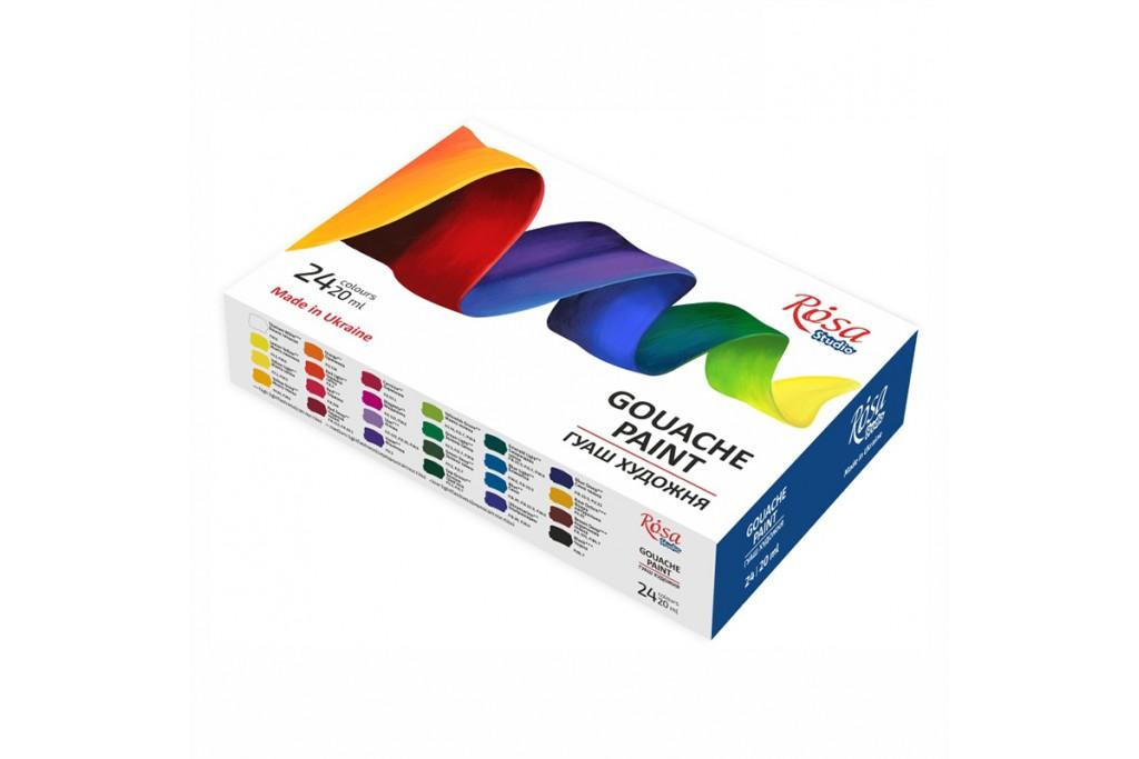 Набор гуашевых красок Rosa Studio 24 цвета по 20мл