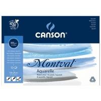 Склейка для акварели Canson Montval FIN А5+ (18х25см) 300 г/м2 12л.