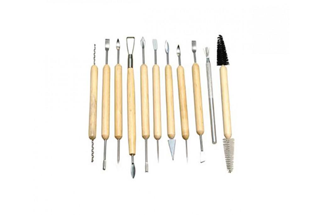 Набор металлических стеков с деревянными ручками 11 предметов (6926586611512)