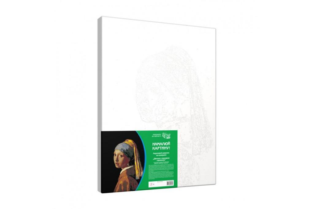 Набор для творчества Rosa акриловая живопись по номерам Девушка с жемчужной серёжкой 30х45 см