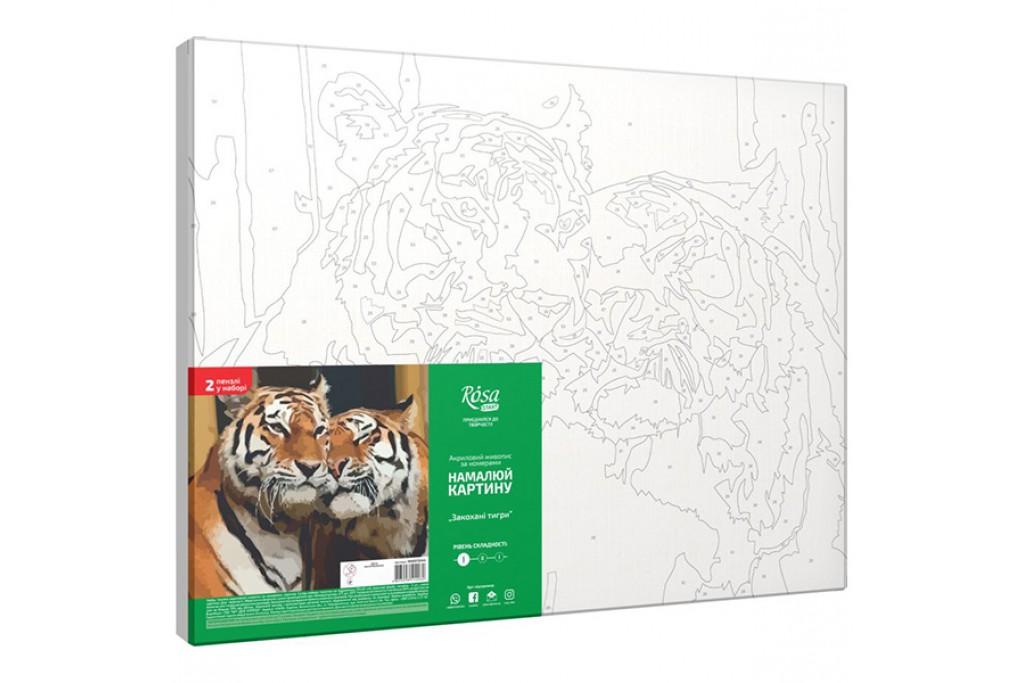 Набор для творчества Rosa акриловая живопись по номерам Влюбленные тигры 35 х 45 см