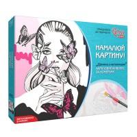 Набор акриловой живопись по номерам, Девушка с бабочками, Rosa