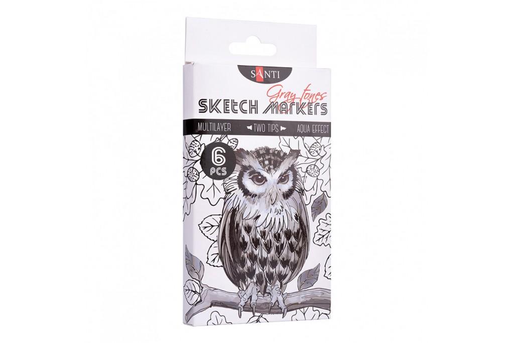 Набор акварельных маркеров Santi Sketch Marker Gray tones 6 цветов