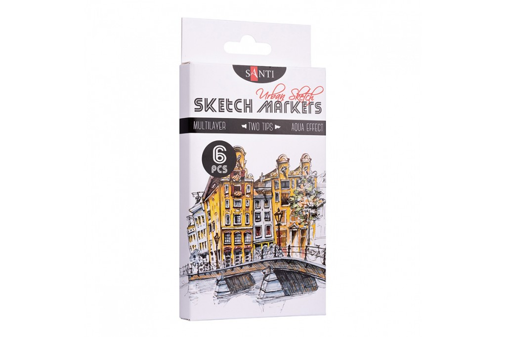 Набор акварельных маркеров Santi Sketch Marker Urban Sketch 6 цветов