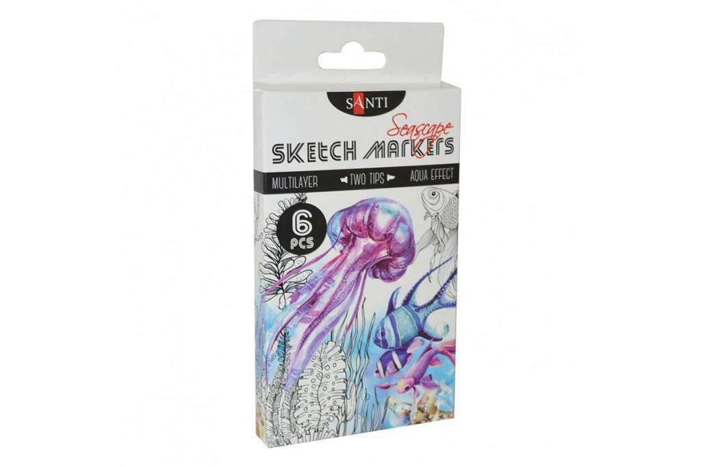 Набор акварельных маркеров Santi Sketch Marker Seascape 6 цветов