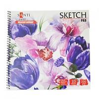 Альбом для акварели Santi Watercolor Pad 21х21см 200 г/м2 10 л,