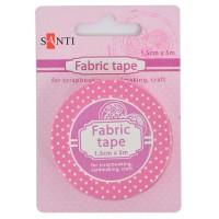 Лента текстильная самоклеящаяся, Розовый горох, 1.5см, 5м, Santi