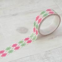 Скотч бумажный самоклеящийся, Цветная геометрия, 1.5см, 5м, Santi