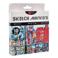 Набор акварельных маркеров Santi Sketch Marker 18 цветов